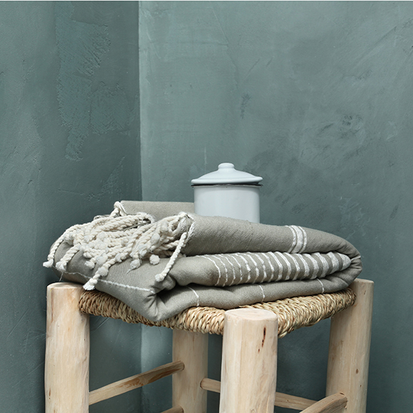 Bathroom with blue decorative concrete