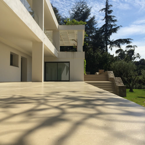 Terrace with decorative concrete